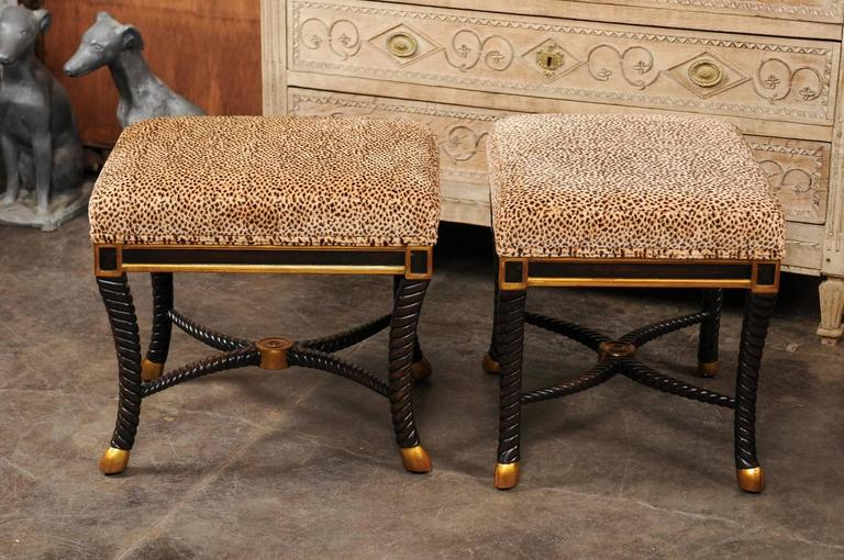 Pair Of Italian 1970s Upholstered Stools With Ebonized