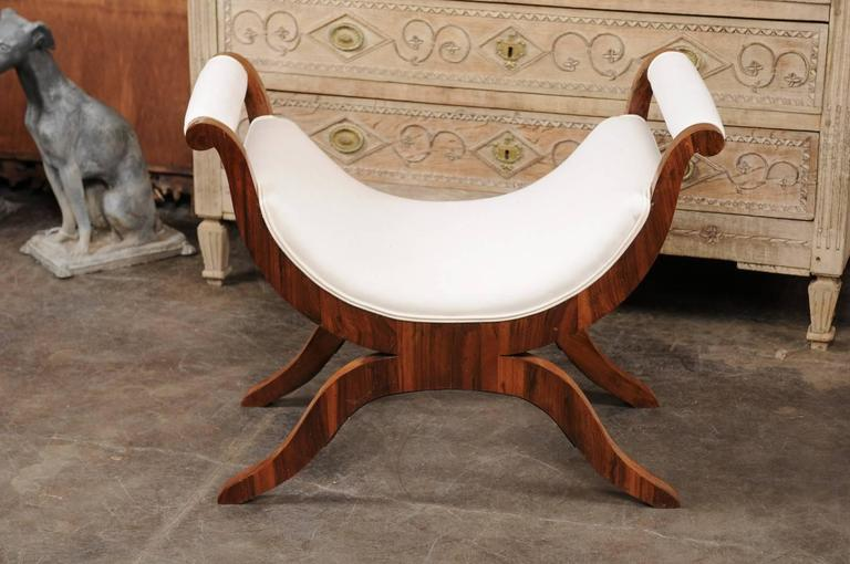 Muslin Viennese Biedermeier Walnut Veneered Bench with Curule Base, circa 1825 For Sale