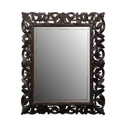 English Rectangular Carved Oak Late 19th Century Mirror with Foliage Motifs