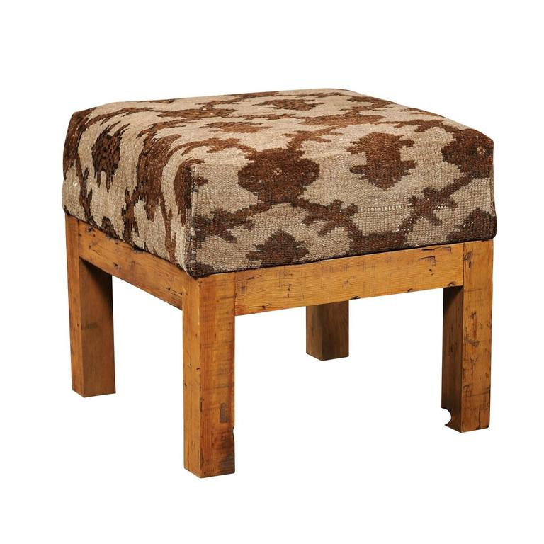 Turkish Brown Wool Upholstered Stool Over Old Wood Base