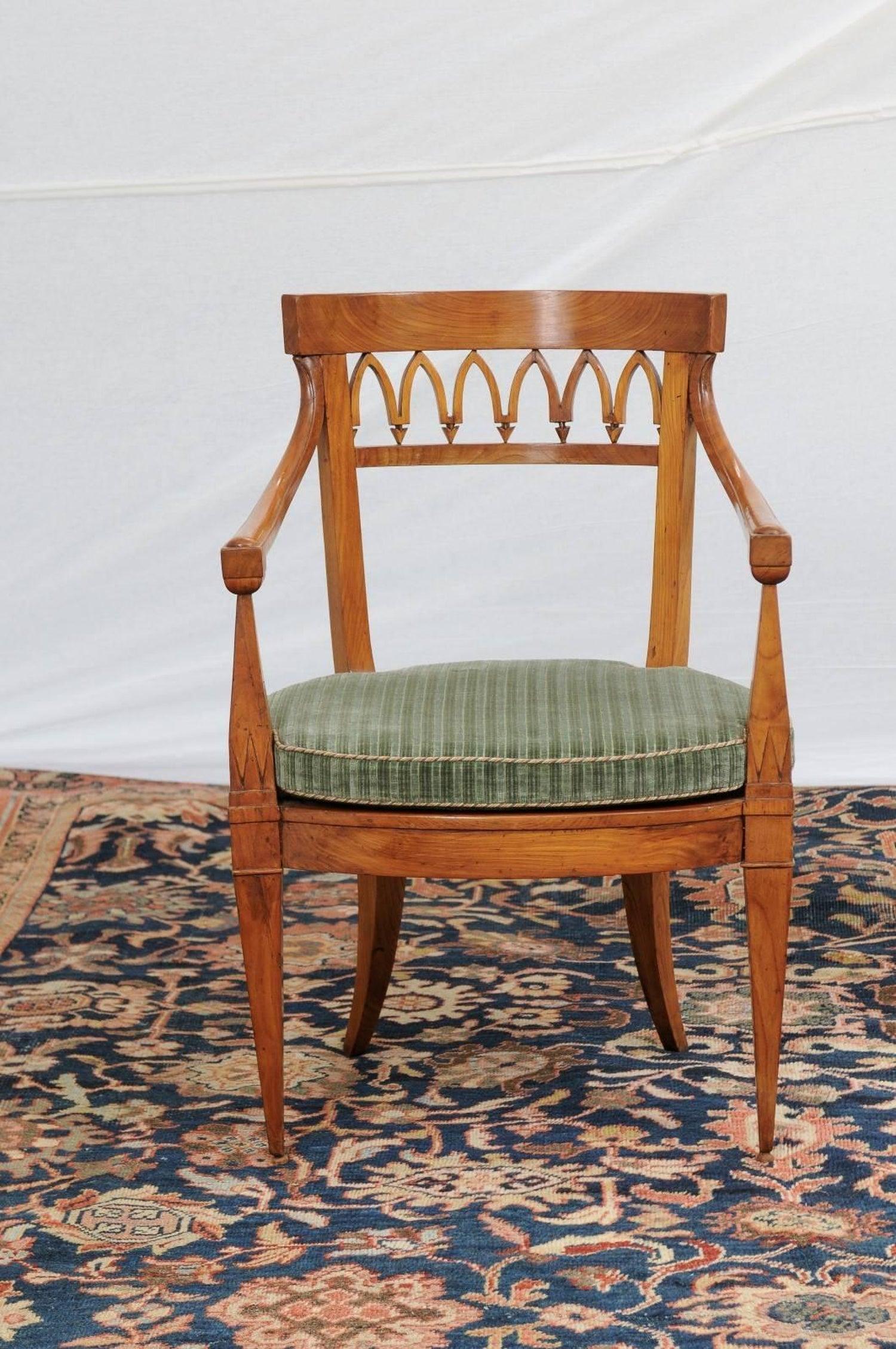 Abp 656 pair of austrian biedermeier 1840s, armchairs with pierced backs and cane  seats