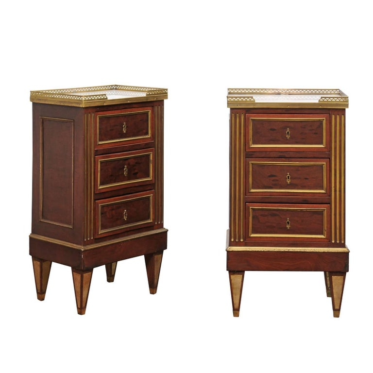 Pair of Petite French Directoire Style Commodes with Gallery and Marble Tops