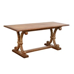 French X-Shaped Leg Oak Sofa Table with Cross Stretcher, Turn of the Century