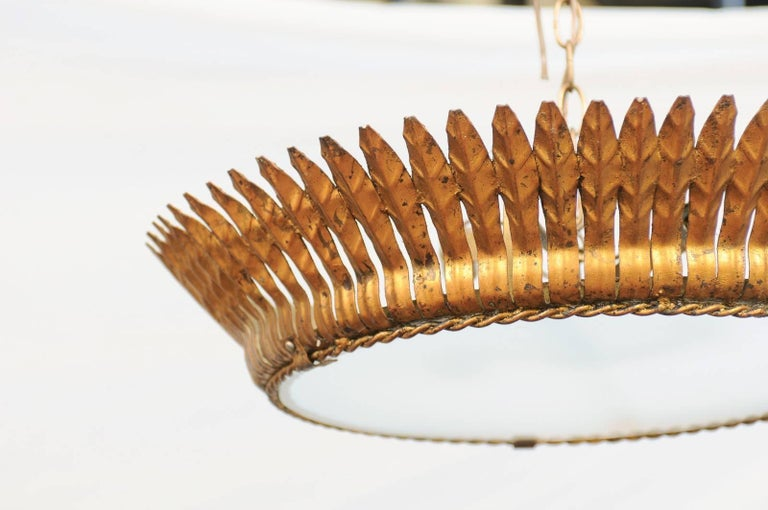 20th Century Spanish Two-Light Gilt Metal Crown Chandelier with Leaves and Frosted Glass For Sale