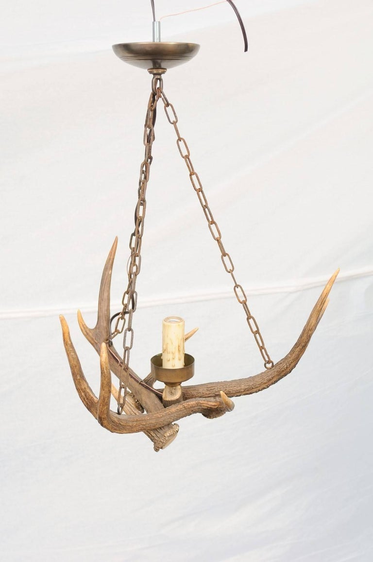 French Antler Chandelier From The Early 20th Century For