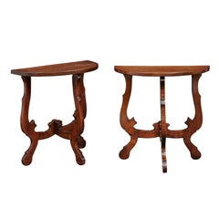 Pair of Petite Italian Baroque Style Demilune Tables with Lyre Legs, circa 1870