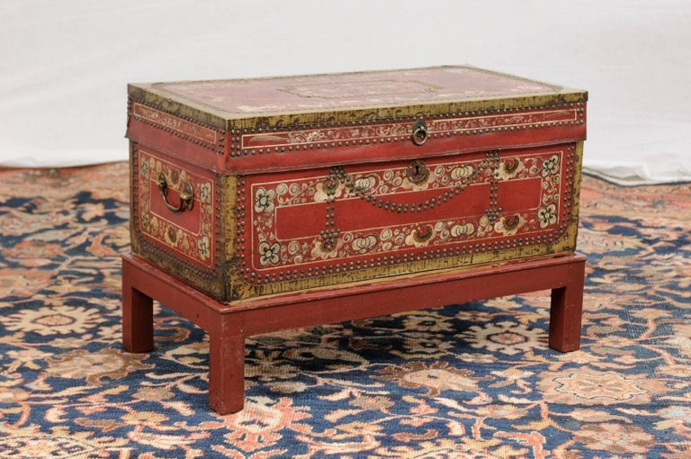 English Camphor Wood Trunk On Stand With Red Painted Leather And Floral Motifs For Sale At 1stdibs