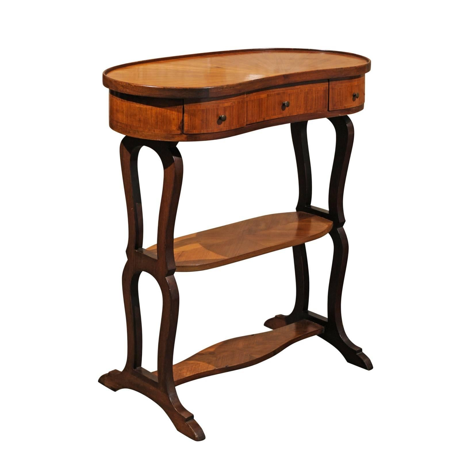 Genial French Inlaid Bean Shaped Tiered Small Side Table From The 1920s For Sale