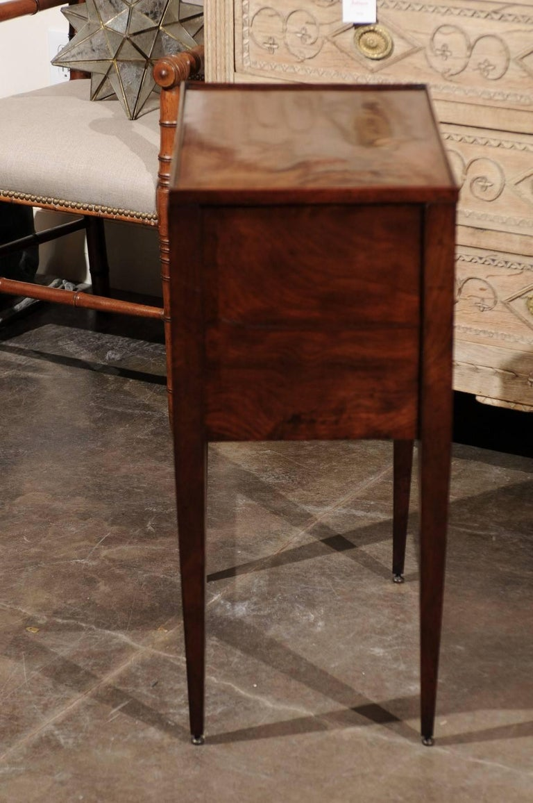 English wooden side table with tambour door single