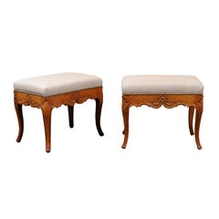 Pair of Rococo Style Italian Carved Walnut Stools with Linen Upholstered Seats