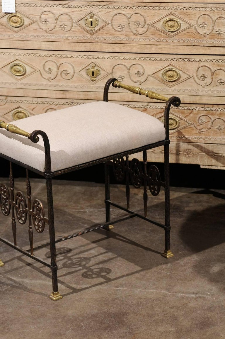Upholstery Italian 1920s Wrought-Iron Upholstered Bench with Bronze Accents For Sale