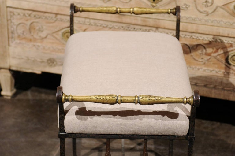 Italian 1920s Wrought-Iron Upholstered Bench with Bronze Accents For Sale 2