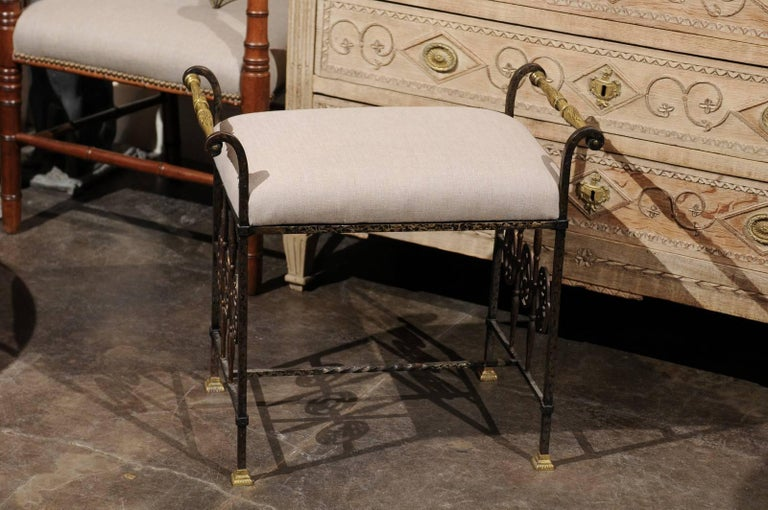 Italian 1920s Wrought-Iron Upholstered Bench with Bronze Accents For Sale 3