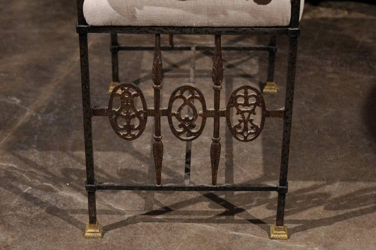 Italian 1920s Wrought-Iron Upholstered Bench with Bronze Accents For Sale 5
