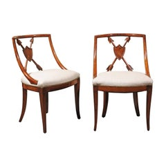 Pair of Austrian Biedermeier 1840s Armchairs with Trophy of Arms Pierced Backs
