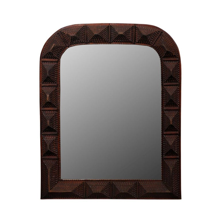 French Medium Size Tramp Art Carved Wood Mirror with Rounded Corners, circa 1900