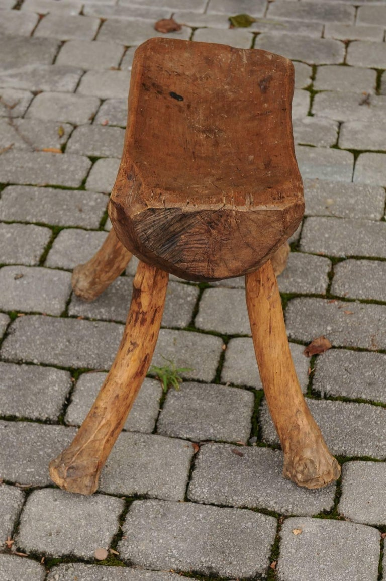 French Primitive Log Stool With Branch Legs From The Late