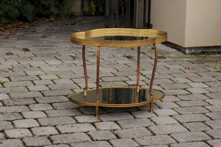Mid-Century Modern French Maison Jansen Style Brass and Mirrored Two-Tiered Side Table, 1940s For Sale