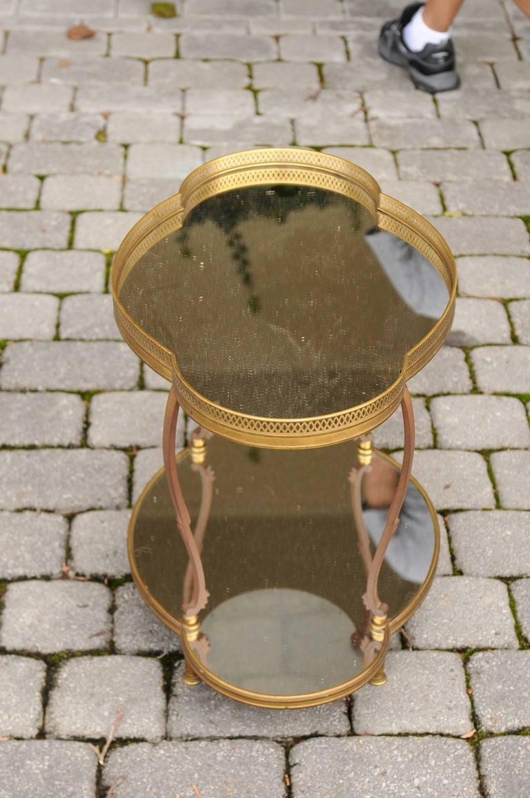 20th Century French Maison Jansen Style Brass and Mirrored Two-Tiered Side Table, 1940s For Sale