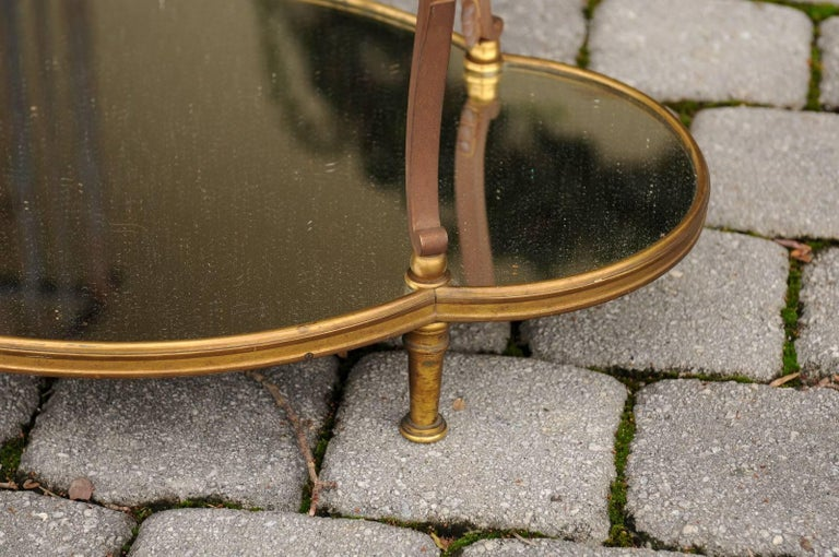 French Maison Jansen Style Brass and Mirrored Two-Tiered Side Table, 1940s For Sale 4