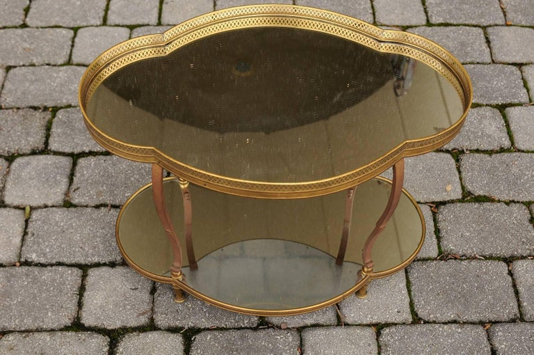 French Maison Jansen Style Brass and Mirrored Two-Tiered Side Table, 1940s For Sale 5