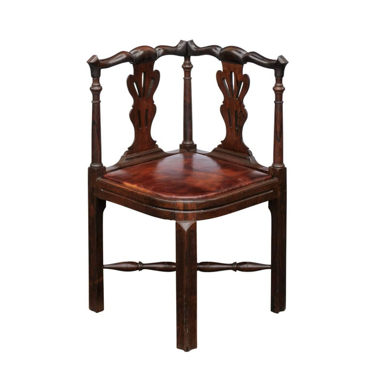 Italian Sofa Brent Cross: English 1840s Carved Wood Corner Chair With Leather Seat