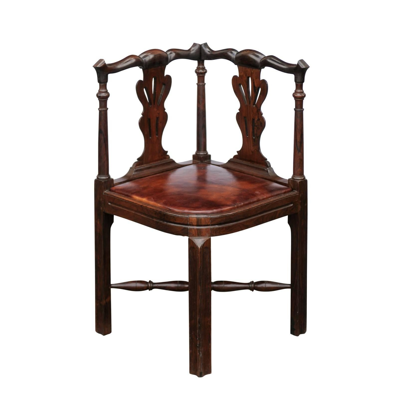 Superieur English 1840s Carved Wood Corner Chair With Leather Seat And Cross  Stretcher For Sale