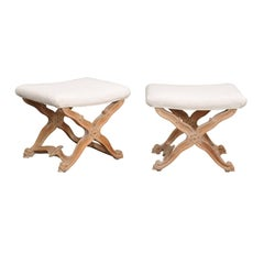 Vintage Italian Pair of X-Frame Rococo Style Bleached Wood Stools