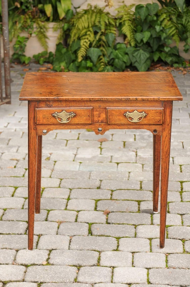 English Georgian Oak Table with Two Drawers and Tapered Legs