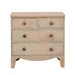 English 1840s Four-Drawer Chest with Original Paint and Valanced Skirt