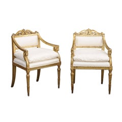 Pair of Italian Neoclassical Armchairs with Winged Lions from the Late 1790s