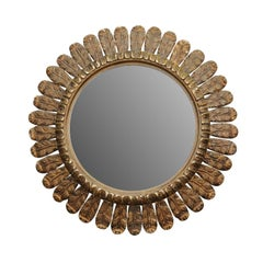 Italian Carved Giltwood Circular Mirror with Foliage Motifs from the 1950s
