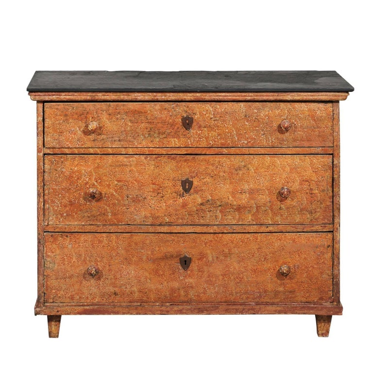 French 1820s Three-Drawer Commode with Distressed Paint and Slate Top