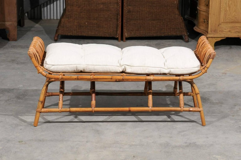 Mid-Century Modern French Midcentury Rattan 1950s Bench with Linen Custom-Made Cushion For Sale