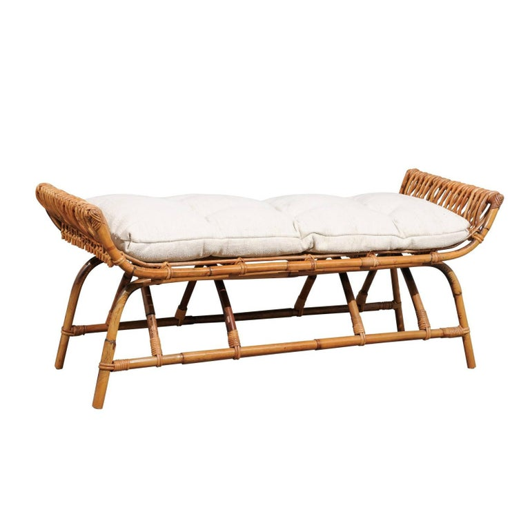 French Midcentury Rattan 1950s Bench with Linen Custom-Made Cushion For Sale