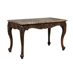 Italian 1850s Rococo Revival Console Table with Marble Top and Carved Apron