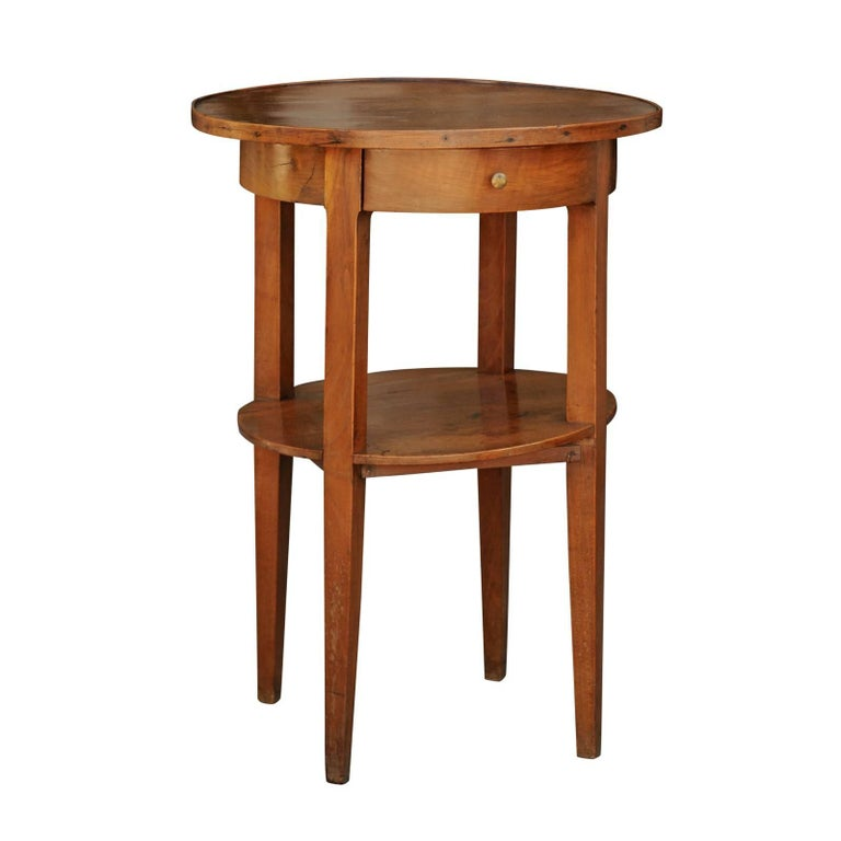 French Circular Side Table with Single Drawer and Lower Shelf from the 1840s