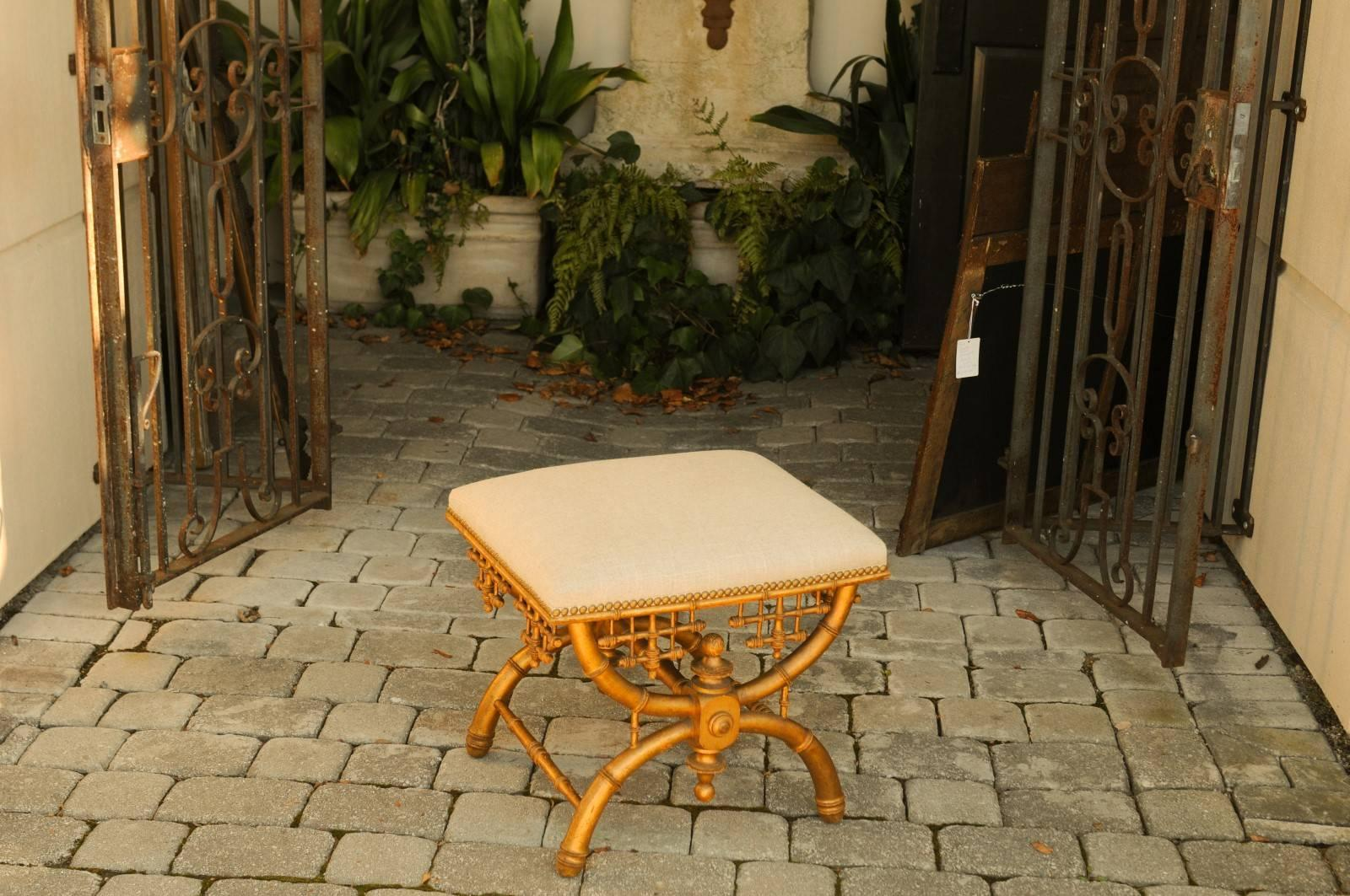 Pavillon X Style : Brighton pavilion style chinoiserie stool with gilt faux bamboo x