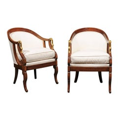 Pair of French Empire Style Tub Chairs with Brass Swan Motifs from the 1870s