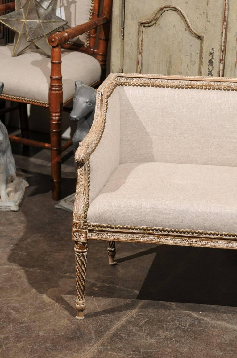 Petite 1820-1840 French Louis XVI Style Upholstered Bench with Distressed Finish In Good Condition For Sale In Atlanta, GA