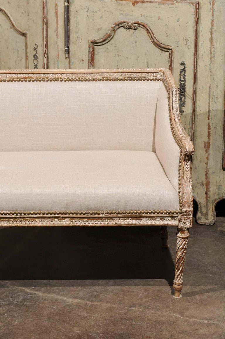 19th Century Petite 1820-1840 French Louis XVI Style Upholstered Bench with Distressed Finish For Sale