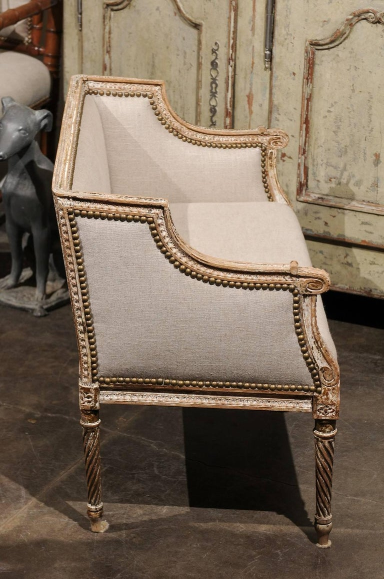 Petite 1820-1840 French Louis XVI Style Upholstered Bench with Distressed Finish For Sale 1