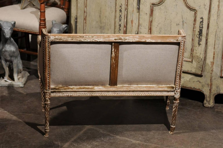 Petite 1820-1840 French Louis XVI Style Upholstered Bench with Distressed Finish For Sale 2