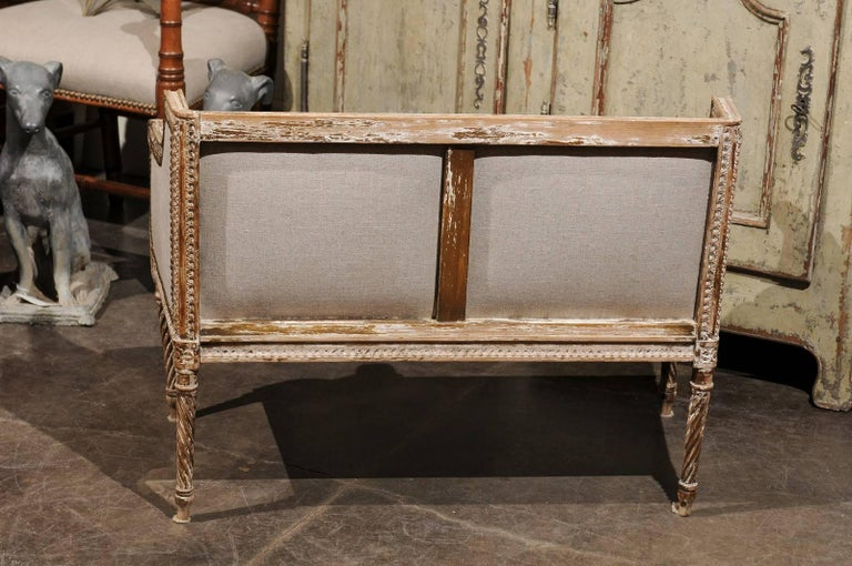 Petite 1820-1840 French Louis XVI Style Upholstered Bench with Distressed Finish For Sale 3