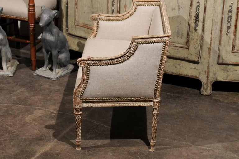 Petite 1820-1840 French Louis XVI Style Upholstered Bench with Distressed Finish For Sale 4