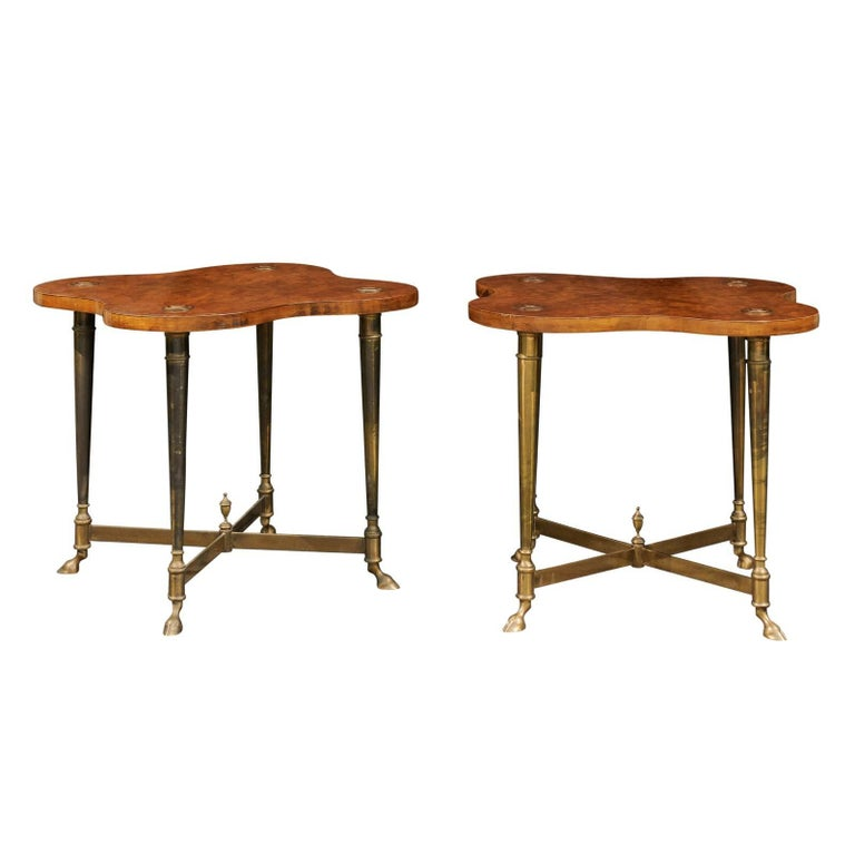 Pair of English Side Tables with Burled Walnut Tops and Brass Frame, circa 1960