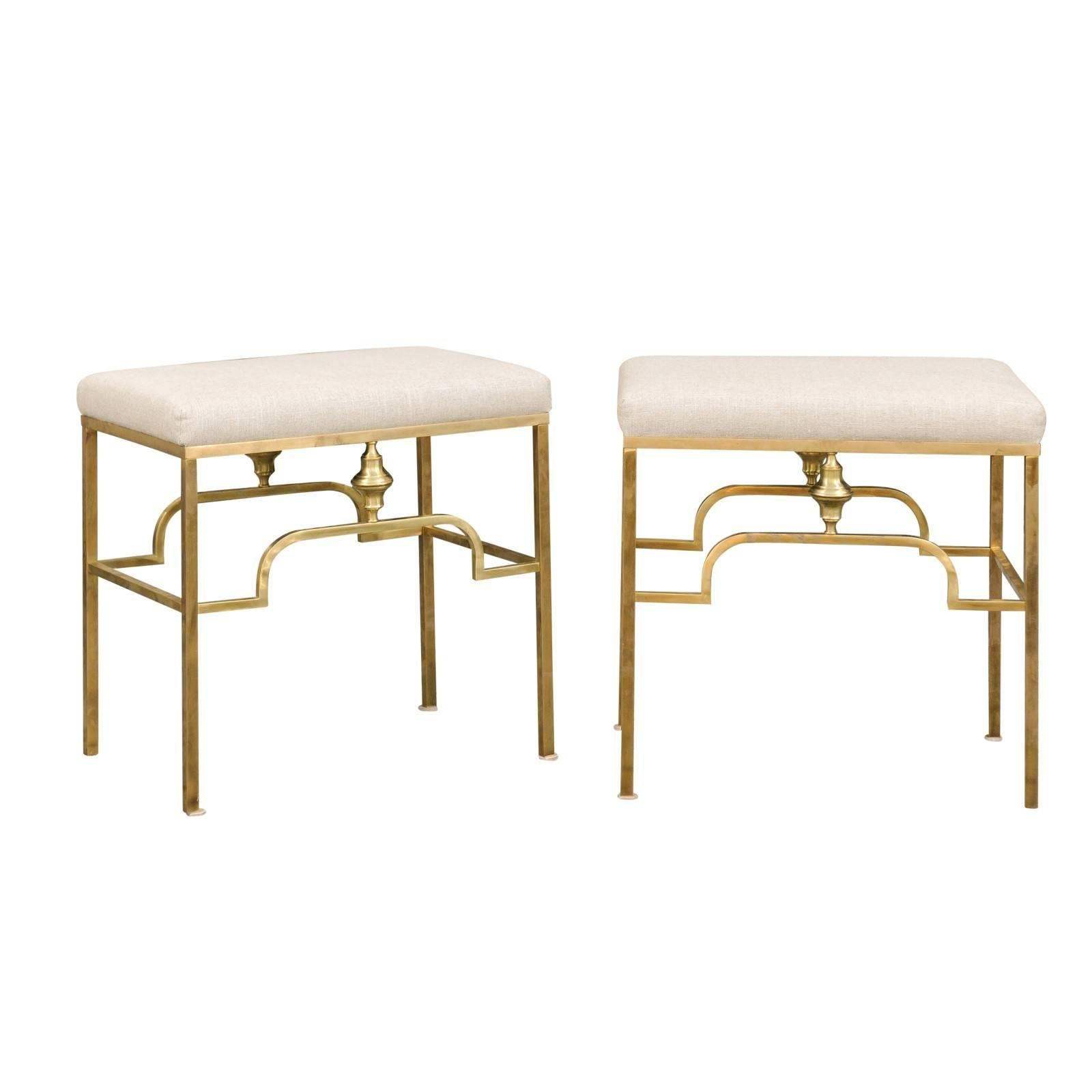 Pair of Midcentury Italian Stools with Brass Armature and Upholstered Seats