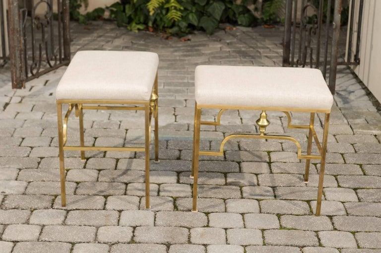 20th Century Pair of Midcentury Italian Stools with Brass Armature and Upholstered Seats For Sale