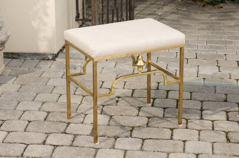 Pair of Midcentury Italian Stools with Brass Armature and Upholstered Seats In Good Condition For Sale In Atlanta, GA