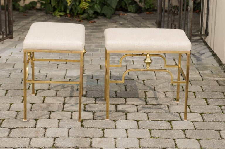 Pair of Midcentury Italian Stools with Brass Armature and Upholstered Seats For Sale 2